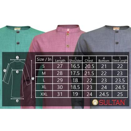 SULTAN KURTA  - NABIL - D5 - ROUND NECK FULL SLEEVES - LELAKI / MEN'S