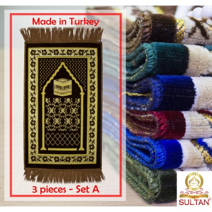 SEJADAH MINI SPEIGEL - MUSLIM PRAYING MATS - MADE IN TURKEY (3 PCS - SET A)
